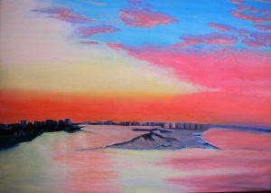 Atardecer en la Bahía de Tampa E.E.U.U. - 73x92cm - Óleo sobre lienzo