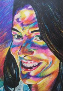 Mujer Sonriendo - 100x70cm - Crayones sobre papel fotográfico