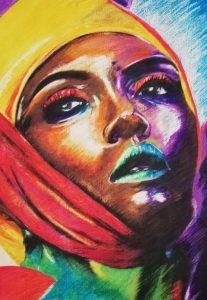 Afro 3 - 100x70cm - Crayones sobre papel fotográfico
