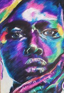Afro 1 - 100x70cm - Crayones sobre papel fotográfico