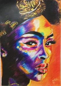 Afro 2 - 100x70cm - Crayones sobre papel fotográfico