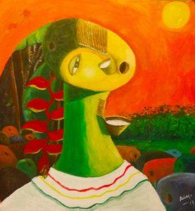Kuña Mbarete - 100x100cm - Acrílico sobre lienzo