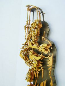 La avaricia - 120x60cm - Escultura de madera formada por 127 piezas (2012) (Foto Detalles 2)