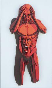 La ira - 115x60cm - Escultura de madera formada por 105 piezas