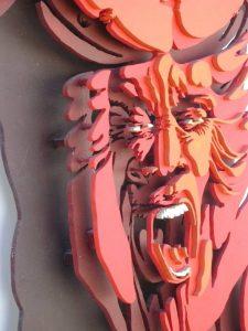 La ira - 115x60cm - Escultura de madera formada por 105 piezas (Foto Detalles 1)