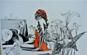 La mujer de las calas - 110x60cm - Tinta indeleble (2017)