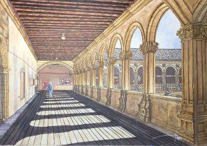 Patio de los reyes, San Esteban, Salamanca - 42x30cm - Acuarela y tinta china