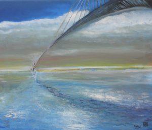 Bajo el puente de Normandía (Serie Sequana) - 46x55cm - Óleo sobre lienzo