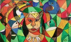 Matse Bedi (hombre tigre) - 50x80cm - Acrílico sobre tela