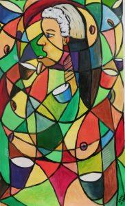 Mujer Zoe - 80x50cm - Acrílico sobre tela (Serie Kami Mai)