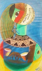 Watke Waxixto (Quedate en casa en lengua del pueblo fulni-ó de brasil) - 82x50cm - acrílico sobre tela