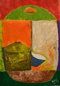 Bolacha, balde y tichela - 70x50 - Acrílico sobre papel