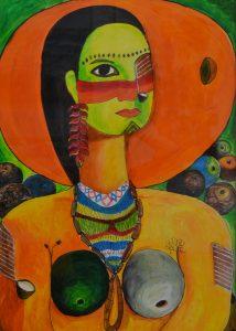 Waodani Okiye (Mujer Waorani) - 70x50 - Acrílico sobre Papel